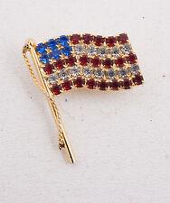 American Flag Rhinestone Pin Brooch (C4L) Nice Good Shape