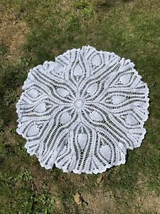 """Vintage Crochet TableCloth Hand Made Knitted Circles Round 32"""""""