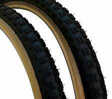 "Kenda Comp 3 III old school BMX skinwall gumwall tires 26"" X 2.125"" BLACK (PAIR)"