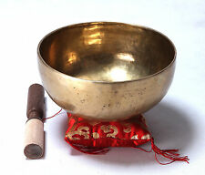 Large Tibetan Buddhism Meditation Singing Bowl Handmade Mallet & Pillow Buddha