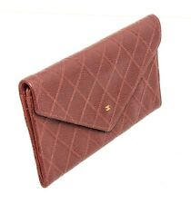 Chanel Brown Quilted Caviar Leather Envelope Flap Wallet