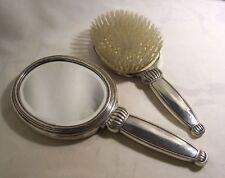 FACE à MAIN miroir et BROSSE cheveux ARGENT allemagne ART DECO miroir biseauté