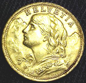1935 SWITZERLAND 20 FRANC GOLD COIN..........MIN. BID .01 & NO RESERVE!