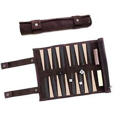 """13"""" Suede Leather Rolled Portable Lightweight Backgammon Game Set Roll Up Travel"""