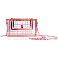 Women's Metal Net Bage Cage Clutch Hollow Handbag Chain Evening Bag Shoulder Bag