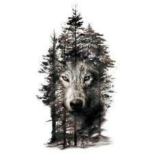 Waterproof Temporary Fake Tattoo Stickers Grey Forest Wolf Animals Large DIY