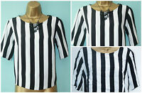 Ladies New Look Black  White Stripe T Shirt Baggy Crop Top SIZE 6 - 16