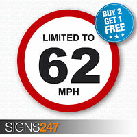 LIMITED TO 62 MPH Vehicle Speed Restriction Printed Vinyl Car Van Sticker 80mm