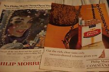 Vintage Philip Morris Cigarettes Magazine Print Ads Lot of 2 Different