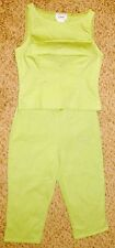 "Jr S.com Green Cotton Spandex 32"" Bust Shirt & Capri Pant Suit 2 Piece"