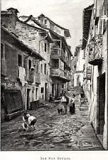 Orta San Giulio: nell'Isola di San Giulio.Lago d'Orta.Novara. Stampa Antica.1889