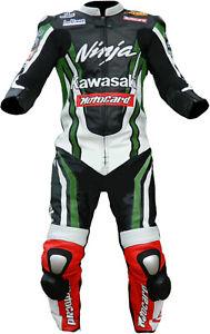 Kawasaki Motociclo Tuta Pelle Giacca Pantalone Corsa Motociclista Protezione