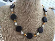 Brown Marble, Orange Shell, and White Italian Onyx Handmade Short Neckalce