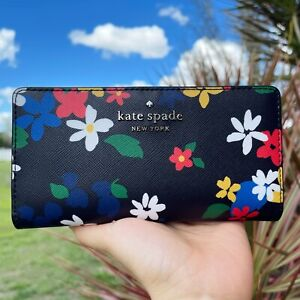 Kate Spade Staci Cameron Sailing Floral Large Slim Bifold Wallet Black Multi