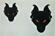 Embroidered Mini Wolf Motif / Patch / Applique - 2 Sizes Lots of Colour Choices
