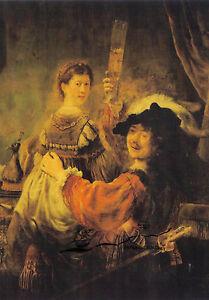Kunstpostkarte -  Rembrandt:  Selbstbildnis mit Saskia