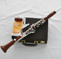 Professional Grenadilla Rose Wooden Clarinet Silver 19 Key Boom System New Case
