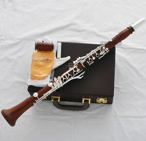 Professional Grenadilla Rose Wooden Clarinet Silver 19 Key Boom System New Case