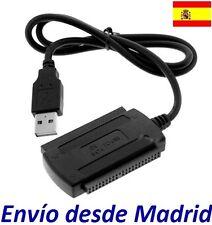 """Cable Adaptador USB a IDE SATA 2,5"""" 3,5"""" Para Discos duros DVD CD a Ordenador PC"""