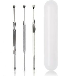 3pcs Ear Pick Cleaning Set Ear Wax Remover Cleaner Curette Kit Stainless Steel