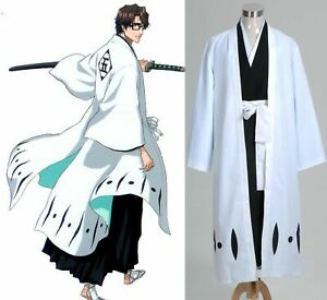Bleach 5th Division Captain Aizen Sousuke Cosplay Costume Outfit Halloween Cloak
