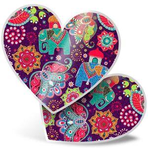 2 x Heart Stickers 10 cm - Purple Indian Elephant Pattern Print  #13139