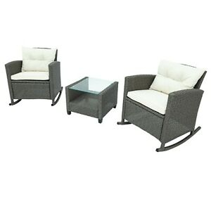 Outdoor Patio Furniture Set Rattan Rocking Chair Glass-Top Coffee Table Set USA