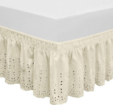 Elastic Eyelet Bed Skirts Dust Ruffle Adjustable Queen King 14 1/2 Inches Drop
