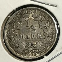 1905-F GERMANY SILVER 1/2 MARK