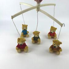 Vintage Crib Mobile Nursery Originals 5 Small Plush Teddy Bears in Sweaters 1978