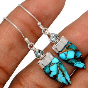 Copper Blue Turquoise - Arizona & Blue Topaz 925 Silver Earrings Jewelry BE61777