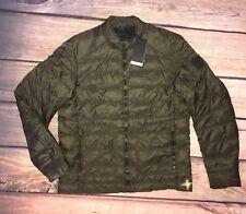 NWT $495 BELSTAFF Quilted Dark Moss Green Down Jacket M (Eu 50) Flaw!