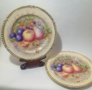 A Pair of Aynsley Orchard fruits, Decorative Cabinet Plate, signed N. Brunt