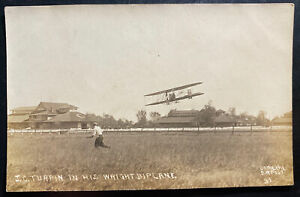 Mint USA Real Picture Postcard JV Turpin In His Wright Biplane
