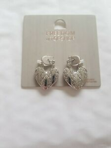 Freedom At Topshop Pretty Silver Heart Earrings