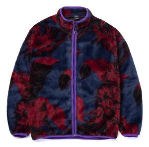 Huf Sweatshirt Hoodie Jacket Sativa Floral Zip Sherpa Fleece Navy Blazer in XXL