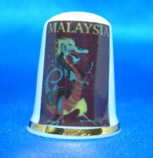 Birchcroft China Thimble - Travel Poster Series - Malaysia - Free Dome Gift Box