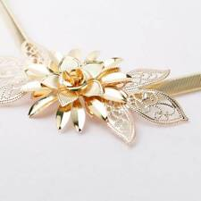 1pc Ladies Belts Women Gold Metal Chain Belt Flower Elastic Strap Waist Belt