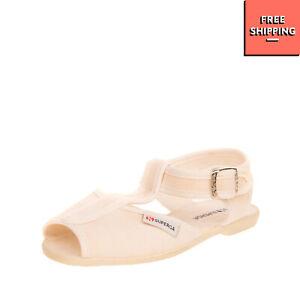 SUPERGA Canvas T-Strap Sandals EU 27 US 10.5 Logo Patch Popper Snap Closure