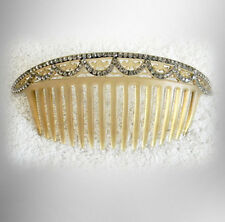 Celluloid hair comb with embedded clear rhinestones