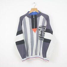 VINTAGE Reebok 90 S 1/4 Zip Pullover Felpa Nero Grigio | Classiche | Grandi