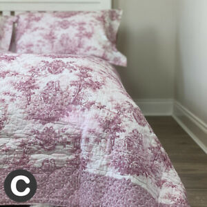Luxury 100% Cotton French Toile Blush Pink King Size Quilted Bedspread Cushions