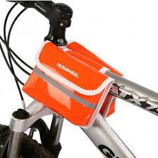 Orange Cycling Bike Bicycle Pannier Frame PU Leather Front Tube Bag Waterproof