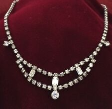 Vintage Silver Rhine Stone Costume Jewelry Necklace. 15 Inches