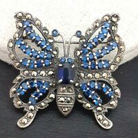 The Most Beautiful Vintage 925 Sterling Silver Marcasite Butterfly Brooch