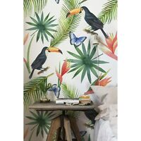 Tropical Toucan Butterfly & Leaves Non-Woven wallpaper Traditional wall mural