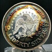 1982 A-Mark 1 Troy Oz Pure .999 Silver, Gem BU. Rainbow Toned Round Coin  #1