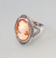 9927206 925er Silber Muschelkamee-Ring Markasiten Gr.56