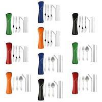 8pcs Portable Stainless Steel Tableware Dinnerware Travel Camping Cutlery Set