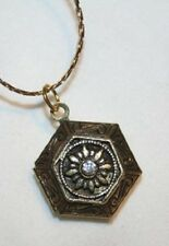 Delightfully Petite 6 Sided Rhinestone Locket Pendant Necklace  ++++